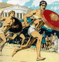 Greek runners protecting the torch